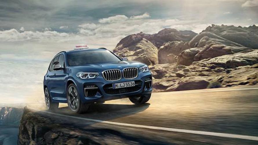 BMW X3, Fahrschulauto, blau, Seitenansicht